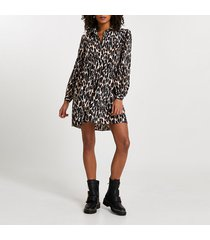river island womens brown animal print shirt smock mini dress