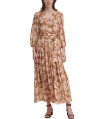 calvin klein printed blouson-sleeve maxi dress