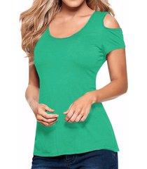 zanzea verano mujeres hueco del hombro de manga corta casuales empalme del cordón del ganchillo de la blusa sin espalda de split tanque tops (green lake) -verde