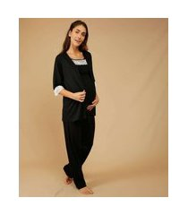 pijama feminino maternidade amamentação robe renda