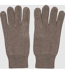 reiss glen - ribbed knit gloves in taupe, mens