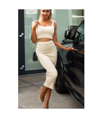 sexy set crop-top en midi rok beige