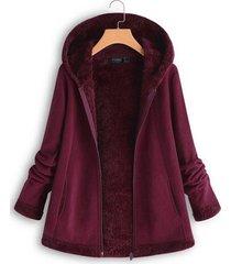 abrigo con capucha de manga larga con cremallera frontal y polar
