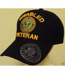 licensed disabled u.s. army veteran vet dav military patch insignia cap hat blk