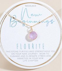 new beginnings flourite pendant necklace - periwinkle