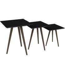 conjunto de mesa quadrada 3 peças pinoquio preto
