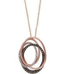 effy women's 14k rose gold, black rhodium plated & 0.48 tcw diamond interlocking hoop pendant necklace