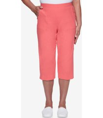 alfred dunner petite cotton pull-on capri pants