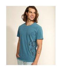 camiseta masculina meia caveira manga curta gola careca verde petróleo