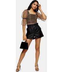 tall black pu paperbag shorts - black