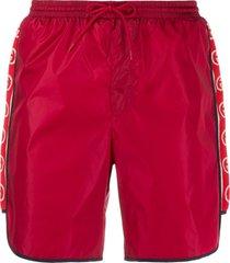 gucci logo stripe swim shorts - red