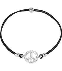 bracciale peace in argento 925 rodiato, cordino e zirconi per donna