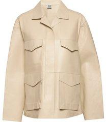 avignon leather jacket leren jack leren jas beige totême