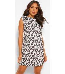 dalmatiërprint t-shirt jurk met schouderpads, white