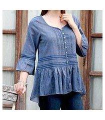 cotton blend tunic, 'cadet blue charm' (india)