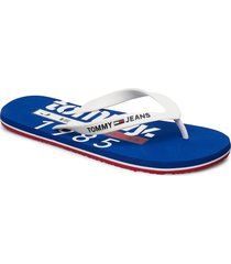 tommy jeans beach sa shoes summer shoes flip flops vit tommy hilfiger