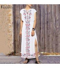 zanzea partido de las mujeres vestido de tirantes floral beach club encuadre de cuerpo entero más el tamaño de vestido de maxi -blanco