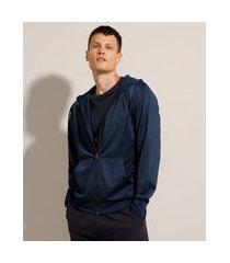 blusão básico com capuz e bolsos azul marinho