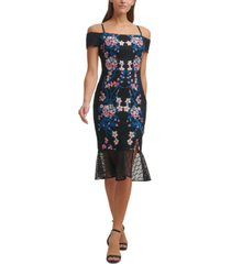 guess off-the-shoulder embroidered lace midi dress