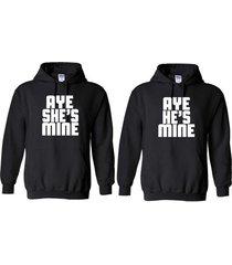 2 aye she's & he's mine matching couples valentine couple love unisex hoodies