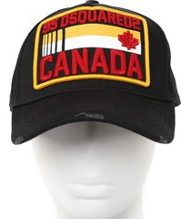 dsquared2 black cotton canvas hat with patch