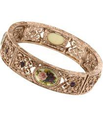 2028 rose gold-tone purple crystal flower bracelet