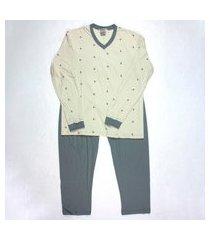 pijama longo masculino 100% algodão gola v brezzi estampa seta cor cinza multicolorido