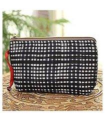 batik cotton cosmetic bag, 'midnight plaid' (india)