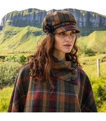 ladies irish wool newsboy cap brown check one size