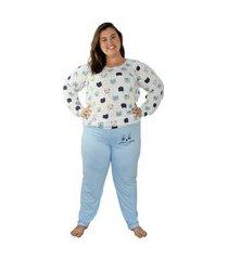 pijama plus size de frio gatinho azul serenity