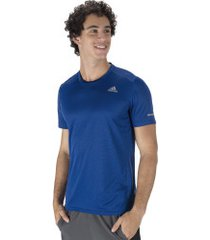 camiseta adidas run - masculina - azul escuro