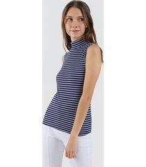 camiseta mujer cuello alto lineas color azul, talla 10