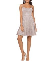women's xscape glitter double strap party dress, size 16 - metallic