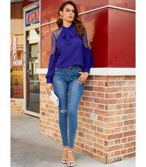 yoins blusa de manga larga con encaje azul marino diseño
