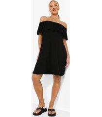 zwangerschap overlay swing jurk met uitgesneden hals, black