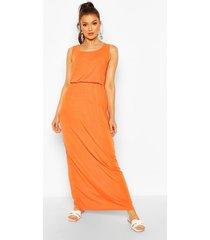 recycled basic blouson maxi dress, orange