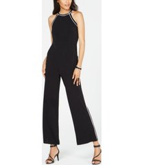 inc contrast-piping halter jumpsuit, created for macy's