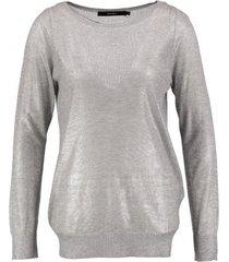vero moda dunne shiny trui metallic silver boatneck