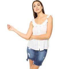 camisa blanca ted bodin con volados