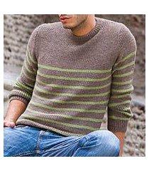 men's alpaca blend sweater, 'brown cuzco casual' (peru)