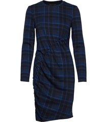 2nd cast maxi-check jurk knielengte blauw 2ndday
