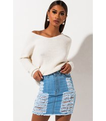 akira the best of me distressed high waisted denim skirt