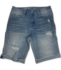 vanilla star juniors' high rise distressed cotton denim bermuda shorts