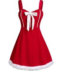 plus size velvet christmas bowknot dress with g-string