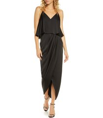 women's shona joy luxe frill tulip hem maxi dress, size 4 - black