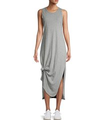 pure navy women's knot-front t-shirt dress - heather grey - size s