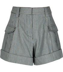 derek lam 10 crosby vertical-stripe ryder shorts - blue