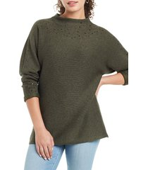 petite women's nic + zoe shine for me sweater, size large - green