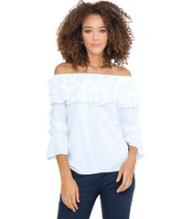 blusa off shoulders con tres capas de bolero en escote blanco unipunto 32322