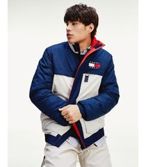 tommy hilfiger men's ripstop colorblock jacket blue/white/red - xl